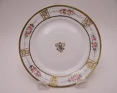 1900s Hand Painted Nippon Pink Rose Gold Beaded Moriage Bread and Butter Plate