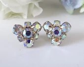 Dainty Aurora Borealis Rhinestones Clip on Earrings Aurora Borealis Stones on Silver Tone Setting
