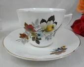 1960s Vintage Royal Dover English Bone China Teacup Footed English Teacup and Saucer Set Tea Cup