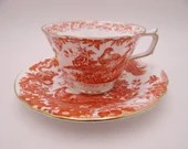 Vintage 1939 Vintage Royal Crown Derby English Bone China Red Aves Teacup and Saucer Set -  10 Available