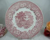 Vintage Barratts Pink and White Dinner Plate Country Scene