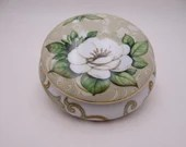 Via Veneto Italy White Orchid Vanity Dish Ring DIsh Nut or Candy Bowl Jewelry Box