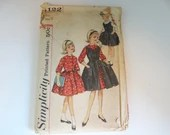 Vintage 1950s Simplicity #4122 Girl's Sleeveless or Long Sleeve Dress Sewing Pattern - Size 7 - Cut but Complete - Mid Century Modern