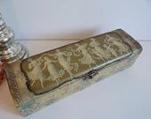 Early 1900s Victorian Celluloid Glove Box with Dancing Ladies on Top and Satin Interior - Celluloid Necktie Box - Celluloid Storage Box