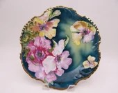 c1890s Vintage Royal Munich Orchid Cabinet Plate Colorful and Delightful