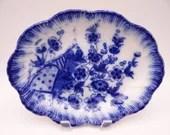 Antique Blue Flow  Oval Serving Vegetable Bowl