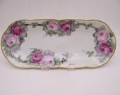 c1890s Antique Hand Painted O.&.E.G. Royal Austria Pink and Red Rose Oval Serving Dish