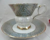 1930s Vintage Blue Green Lusterware Iridescent Footed Teacup and Saucer Set Japanese Tea Cup