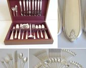 1935 Prestige Plate Chaumont Longchamps Service for 8 Flatware in Box 6 Piece Place Setting with Shrimp Cocktail Forks & Iced Tea Spoons