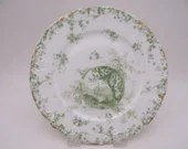 1897 to 1931 Antique Haviland Factory Decorated  Limoges France Green Salad Plate - Charming