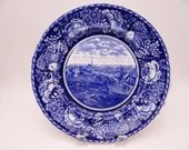 "Vintage Staffordshire Flow Blue English Bone China Blue and White Plate ""The Retreat of the British From Concord"""