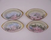 Set of 4 Hand Painted Sauce Bowls Dishes