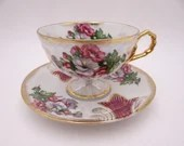 1950s Sterling China Purple and White Orchid Lusterware Lattice Teacup Stunning and Outstanding Tea Cup
