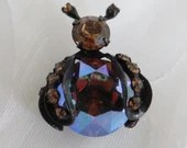 Whimsical Weiss Lady Bug Brooch with Faceted Rhinestones and  Japaned Black Back a Wonderful Vintage Brooch Pin