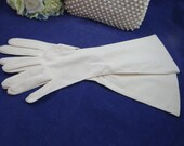 Vintage Elbow Length Off White Gloves with Dot and Leaf Pattern for Bride Cotillion Prom Opera