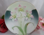 1920s Vintage Hand Painted Accents Carl Tielsch CT Altwasser Floral Orchid Cabinet Plate