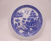 """Vintage Spode Blue Room Collection Willow Series Blue and White Dinner Plate """"Willow"""""""