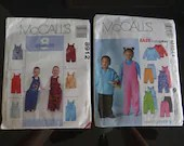 McCall's #4644 and McCall's #8912 - Uncut Unused Factory Folded Children's Overall Pant Jacket Patterns -  2 Patterns for the Price of 1