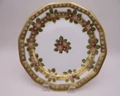 c1911 to 1920 Antique Hand Painted Nippon Gold Beaded Morriage Serving Plate