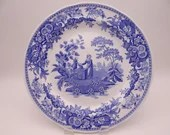 """Vintage Spode Blue Room Collection Blue and White Dinner Plate """"Girl at Well"""""""