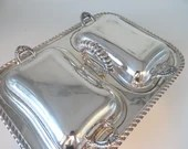 Vintage English Silver Company Silverplate Two Section Covered Serving Tray - Elegant Serving Dining Buffet Piece