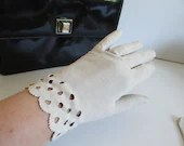 Vintage Lord & Taylor Suede Above the Wrist Length Suede Gloves with Scalloped Cut Out Edge