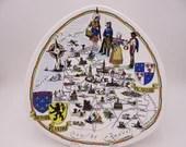 VIntage Ile De France French Souvenir Plate Triangular Serving Plate