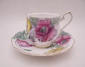 1950s Vintage Hand Painted English Royal Albert Teacup and Saucer Set Flower of the Month Poppy Tea Cup