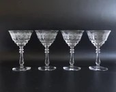Four Rare Antique Bryce Charlene Etched Glass Champagne Tall Sherbet Glasses Goblets for your Elegant Dining Table & Barware - 2 Sets Avail