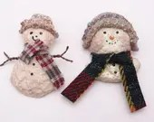 Set of Two Whimsical Linda Baldwin Snowsnickel Snowman Pin Brooches - Wonderful Winter Brooches Pins - From a Nickel to Snowsnickel Pin
