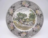 """Vintage Adams Potteries English Bone China """"Star of the Road""""  Dinner Plate"""