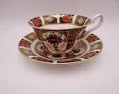 Mint Condition Vintage Royal Crown Derby English Bone China Old Imari 1128  English Teacup and Saucer Set