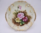 Vintage Hand Painted Rose Handled Cake or Serving Plate - Stunning