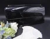 "Vintage Mid Century Modern Large Black Patent Leather Handbag - Classic Elegant 13"" Long Handbag - Stylish Vintage Black Clutch"