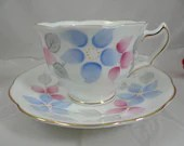 Mid Century Hand Painted Royal Swansea English Bone China Tea Cup Footed English Teacup and Saucer