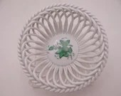 """Vintage Herend Hungary Hand Painted """"Chinese Bouquet"""" Green Small Open Weave Bowl Just Beautiful"""
