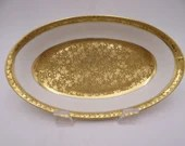 c1919-22 Vintage Royal Bayreuth Bavaria Germany made for Pickard USA Gold Floral Candy Ring Trinket Small Oval Serving Dish