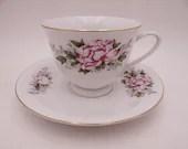 Charming Vintage Purple Orchid Teacup and Saucer Set  Tea Cup