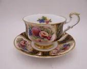 1960s Spectacular Paragon Fine English Bone China Black and Gold Fruit Scene Tea Cup and Saucer Set Beautiful Teacup