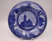 "Vintage 1900s Flow Blue and White Rowland & Marsellus Staffordshire Souvenir Plate ""Souvenir of Cincinnati"""