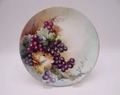 Vintage Hand Painted Floral Grapes Plate