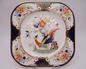 """Vintage Woods & Sons England Bird of Paradise """"Denbigh"""" Square Salad Plate - 6 Available"""