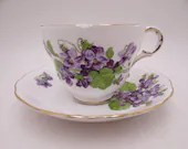 1940s Vintage Melba English Bone China Violets Teacup and Saucer Lovely English Tea Cup
