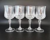Set of 4 Vintage Cristal'd Arques Durand Longchamps Clear Crystal Wine Water Goblets Glasses