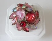 Stunning Shades of Pink and Red Rhinestone Dome Brooch on a Gold Tone Setting Garden Party Ready a Perfect Mix of Pastel and Bold Colors
