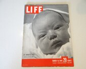 1949 Life Magazine, March 14,  176 Minutes Old - Dorothy McGuire's Baby - Memoirs of Churchill