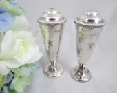 Vintage Silverplated Monogrammed Salt and Pepper Shakers Lovely