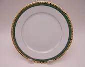 "Vintage Limoges France Tiffany & Co ""Green Band"" Salad or Dessert Plate 4 Available"