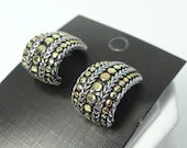 Vintage Silver and Gold Beaded and Braided Design Pierced Earrings on a  Silver Tone Setting