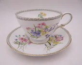 """1950s Vintage Shelley English Bone China """"Wild Flowers"""" 13686 Henley Teacup and Saucer Elegant English Tea Cup"""